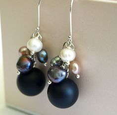Black Onyx and Pearls Dangle Earrings by SaraBernhart on Etsy, $16.00