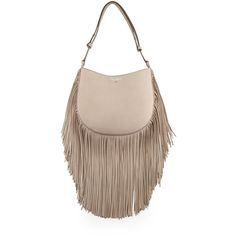 Tory Burch Leather Fringe Hobo Bag ($795) ❤ liked on Polyvore featuring bags, handbags, shoulder bags, french grey, gray leather handbag, grey leather purse, tory burch purse, leather fringe purse and tory burch handbags