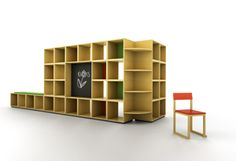 SHELF SYSTEM FOR KINDERGARTENS  (Design: Wullum)