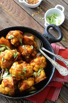 Healthier Roasted Gobi Manchurian (Cauliflower in a Spicy Sauce)...this dish is a beautiful fusion of Indian and Chinese flavors. #recipe