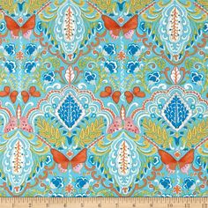 Butterfly Garden Butterfly Medallion Aqua from @fabricdotcom  Designed by Dena Designs for Free Spirit, this fabric is perfect for quilting, apparel and home decor accents. Colors include blue, orange, white, yellow and pink.