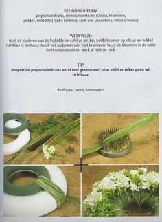 Wreath diy - oasis wreath and styrofoam (painted green) wreath, Cattail (typha latifolia), rank of passion flora and Freesias ~ Jenny Gommaerts
