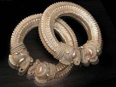 India | Vintage Makara Headed Hollow Anklet Set. Silver, exact content unknown.