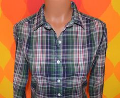 vintage 70s blouse plaid GAP blue preppy cowgirl button down shirt tailored women Medium Large 80s. $23.00, via Etsy.
