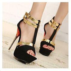 sapatos femininos peep toe stiletto calcanhar reunindo sandálias sapatos mais cores disponíveis - BRL R$ 153,87