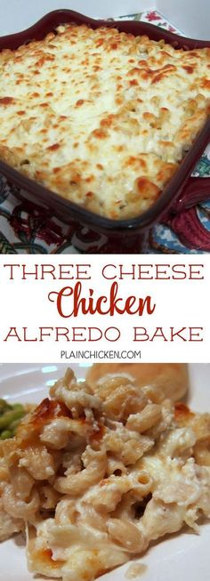 Three Cheese Chicken Alfredo Bake - great make-ahead pasta dish. Elbow macaroni alfredo sauce sour cream ricotta garlic chicken eggs parmesan and mozzarella cheese. We make this at least once a month! Can freeze half for later. Casserole Spaghetti, Pasta Casserole, Casserole Dishes, Casserole Recipes, Pasta Recipes, Chicken Recipes, Dinner Recipes, Cooking Recipes, Healthy Recipes