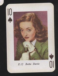 Bette Davis Vintage Hollywood Movie Star Picture Photo Playing Card | eBay Photo Playing Cards, Playing Cards Art, Vintage Playing Cards, Vintage Cards, Old Hollywood Stars, Hooray For Hollywood, Vintage Hollywood, Film Genres, Films