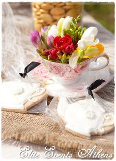 Such adorable teapot cookies at a Tea Party!  See more party ideas at CatchMyParty.com!  #partyideas #teaparty