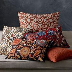 Multi Embroidered Pillow Covers—Suzani