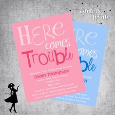 Printable Baby Shower Invitation - HERE COMES TROUBLE