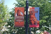 Attractive flags or banners can help carry a community theme.