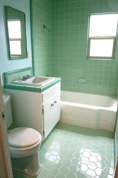 Inspire Mid Century Modern Green Subway Tile Bathroom with Porcelain Bathtub feat Green Tile Vanity Bathroom and Porcelain Undermount Washbasin combine Green Hexagon Tile Floor