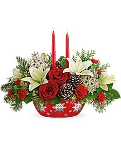 Christmas Flowers Delivery Louisa KY - Farmhouse Memories Christmas Flower Arrangements, Christmas Flowers, Christmas Gifts, Christmas Decorations, Christmas Ornaments, Holiday Decor, Red Carnation, Flowers Today, Red Candles