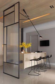 Room divider minimalist design separation kitchen living room with verri- # design . - Room divider minimalist design separation kitchen living room with verri- # design - Minimalism Interior, Room Design, Interior, Home, Divider Design, Interior Styling, Doors Interior, House Interior, Office Interior Design
