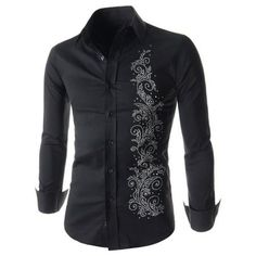 Refreshing Fitted Turn-down Collar Beads Embellished Long Sleeves Men's Cotton Blend Shirt
