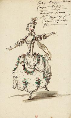 Costume pour Mlle Duperey dans le prologue d'Un amour des dieux (Jean-Joseph Mouret) Dessins et croquis de costumes pour les opéras représentés à Paris et à Versailles de 1739 à 1767 Louis-René Boquet (1717-1814), 1767.