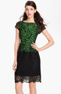 Nanette Lepore Green Belted Lace Sheath Dress