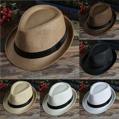 Unisex Hat Men Women Fedora Trilby Wide Brim Straw Cap Summer Beach Sun  Panama b02983a1659d