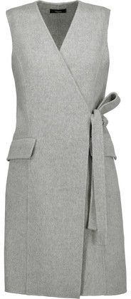 Theory Livwilth Wrap-Effect Wool And Cashmere-Blend Dress