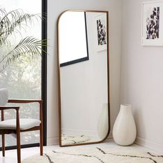 Metal Framed Floor Mirror - Rose Gold | west elm | master bedroom mirror