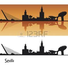 Seville Skyline in orange background in editable vector file
