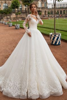 Modest Tulle Jewel Neckline A-line Wedding Dress With Lace Appliques & Beadings Love Love Love