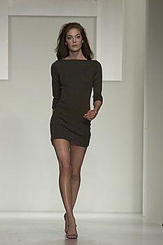 Halston F2000 brown jersey mini dress