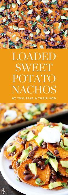 Loaded sweet potato nachos by Two Peas and Their Pod. Get this and more vegetarian comfort food recipes here. #vegetarian #comfortfood #sweetpotato #veggies #vegetarianappetizers
