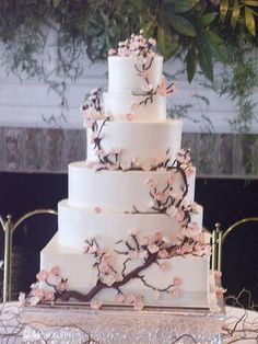 Top 14 Spring Wedding Cake Designs – Cheap Unique Project For Easy Party Day -… - Hochzeit 6 Tier Wedding Cakes, Wedding Cake Designs, Wedding Cake Toppers, Wedding Ideas, Wedding Decorations, Trendy Wedding, Cherry Blossom Theme, Cherry Blossom Wedding, Cherry Blossom Centerpiece