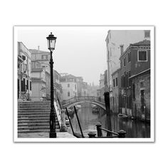 JP London POS2184 Romantic Venice Canal Black and White Peel and Stick Removable Wall Decal Mural
