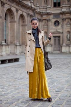 velvet maxi skirt with classic top