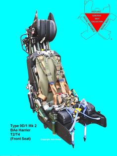 This is a front ejection seat from a British Aerospace Harrier T2/T4. Characteristically large canopy breakers are fitted to the headbox, the main difference between this Type and the 9A/1 and 9D/2  fitted to respectively to the single seat GR1-3 and rear seat of T2/T4.  In service this seat has a rocket pack fitted under the seat pan. This is missing from this example, and required to complete this seat.