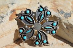 Vintage Southwestern Tribal Sterling Silver Turquoise Pendant Pin Marked Zuni   eBay