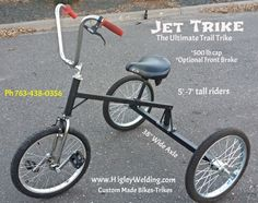 Jet Trike-Trail Trike.. Fast-Sleek-Stealth HigleyWelding.com Ph 763-438-0356