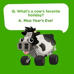 -Silly kids joke for New Year's Eve: What's a cow's favorite holiday? Moo Year's Eve! Silly kids joke for New Year's Eve: What's a cow's favorite holiday? Funny Riddles, Jokes And Riddles, Silly Jokes, Dad Jokes, Funny Jokes, New Year's Eve Jokes, New Year Jokes, Toddler Jokes, Jokes For Kids