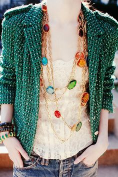 love: turquoise tweed, lace cami and jolly rancher colored gems