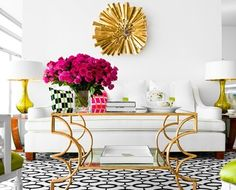 glam & colourful living room