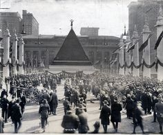 A pyramid of German helmets at GrandCentral