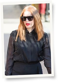 """Jessica Chastain rocks Givenchy GV 7011/S sunglasses from Safilo, part of a complete Givenchy by Riccardo Tisci outfit, when arriving to the """"Jimmy Kimmel Live!"""" studio.  Photo Courtesy: Givenchy"""