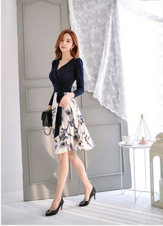 (notitle) - H-Sweet blouse summer blouse style blouse ideas Look Legging, Secretary Outfits, Girly Outfits, Korean Outfits, Asian Fashion, Asian Beauty, Designer Dresses, Short Dresses, Fashion Dresses