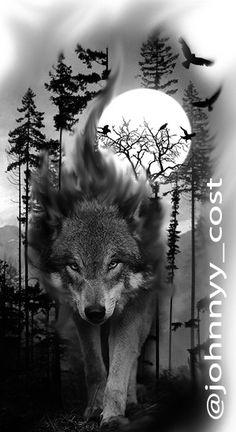 Animal Sleeve Tattoo, Nature Tattoo Sleeve, Wolf Tattoos Men, Native Tattoos, Clock Tattoo Design, Wolf Tattoo Design, Wolf Photos, Wolf Pictures, Tattoo Sleeve Designs