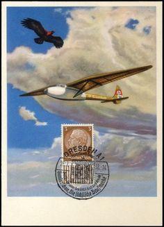 """1938, Farbkarte """"Segelflugzeug und Adler"""""""