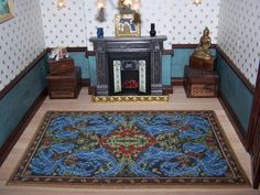 Hand made Dollhouse Carpet 10 inch by inch inspired by a William Morris Sofa Panel. A miniature Scale doll's house carpet based on my