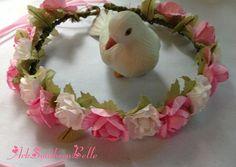 Bridal Wedding CROWN Floral wedding crown pink by ArkSouthernBelle