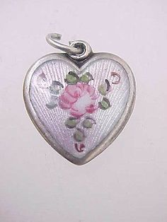 Vintage Sterling Silver Enamel Walter Lampl Pink Rose Puffy Heart Charm | eBay