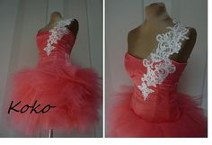 KOKO coral Prom dresscoctail dress Tulle by AtelierArtistia