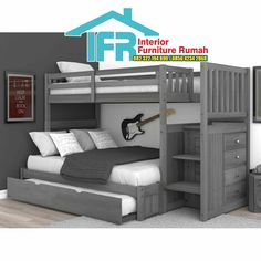 Sandberg bunk bed with trundle bed - bunk beds Bunk Beds For Boys Room, Bunk Bed Rooms, Bunk Bed With Trundle, Bunk Beds With Stairs, Kid Beds, Boy Room, Full Size Bunk Beds, Boy Bunk Beds, Bunk Bed Ideas For Small Rooms