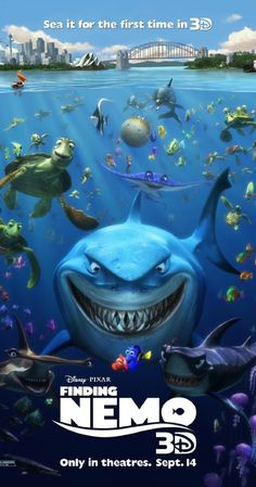 Finding Nemo (2003) ~ Ellen DeGeneres, Albert Brooks, Willem Dafoe, Brad Garrett, Allison Janney, Geoffrey Rush, Elizabeth Perkins. After his son is captured in the Great Barrier Reef and taken to Sydney, a timid clownfish sets out on a journey to bring him home. Such a fun movie!!!