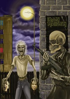 Eddie and the head by on DeviantArt Metal On Metal, Heavy Metal Art, Black Metal, Vic Rattlehead, Iron Maiden Posters, Iron Maiden Albums, Eddie The Head, Iron Maiden Band, Pochette Album