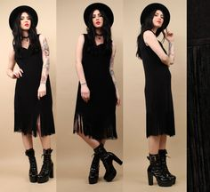 3c1adf360651 80s 90s Vtg Black FRINGE Slinky Midi Dress   Vamp by nanometer Nu Goth